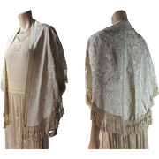 Vintage 1920's Embroidered Chinese Canton Silk Wedding Shawl White On White