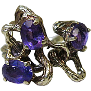 Striking Vintage Faux Bois 14K Yellow Gold And Amethyst Ring