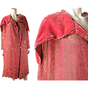 Sumptuous 1920's French Pink Silk Lame And Silk Velvet Evening Coat In A Larger ...