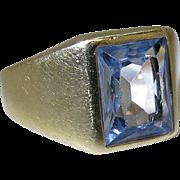Vintage 14K Yellow Gold Radiant Cut Natural Aquamarine Ring