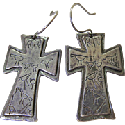 Vintage Southwestern Sterling Silver Cross Earrings Signed And Stamped With Native American ..
