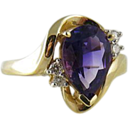 Lovely Vintage Pear Shaped Amethyst And Diamond Cocktail Ring