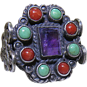 Vintage Mexican Sterling Silver, Turquoise, Coral And Amethyst Poulat Style Ring