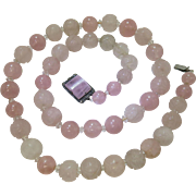 Vintage 1920's Chinese Art Deco Carved Rock Crystal And Rose Quartz Necklace With Wonderful ..