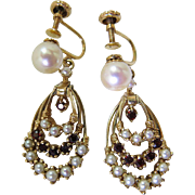 Elegant Vintage 14K Gold, Bohemian Garnet And Cultured Pearl Dangle Earrings With Screw-Back F