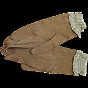 Antique Victorian Ecru Silk Gloves With Ribbon Trims - Unworn With Original Store Tags
