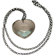 Large And Luminous Antique Rock Crystal Heart Pendant On Sterling Silver Rolo Chain - 60 Carat