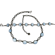 SOLD Vintage Mid-20th Century Sterling Silver And Opalescent Glass Necklace And Bracelet Set W