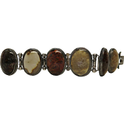 Antique Scottish Sterling Silver And Agate / Pebble Bracelet