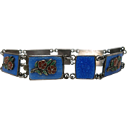 Vintage Guilloche Enameled Sterling Silver Bracelet With Applied Enameled Roses