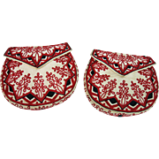 Crisp Pair Of Antique Victorian Embroidered White Pique Purses / Pockets