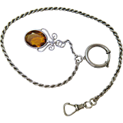 Antique Austro-Hungarian Rope Style Watch Chain With Fob, Swivel Clip And 3/4-Inch ...