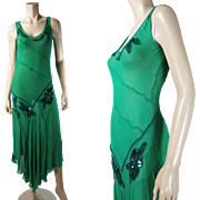 1930's Vintage Lime Green Silk Dress With Beaded And Sequined Rose Appliques And Car ...