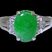 Vintage Art Deco 18K White Gold Green Jadeite And Diamond Ring