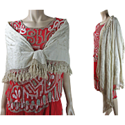 Vintage Circa 1920 Hand Embroidered Ivory Silk Canton Shawl
