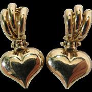 14K Yellow Gold Puffy Heart Door Knocker Post Earrings