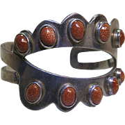 Vintage Mexican Sterling Silver And Goldstone Cuff Bracelet