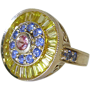 Sumptuous 14K Yellow Gold Cocktail Ring With 4.77 Carats Of Mixed Color Natural Sapphires