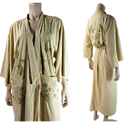 Vintage Circa 1930 Hand Embroidered Natural Silk Dragon Robe