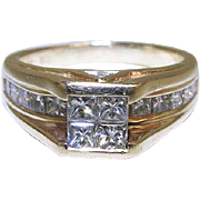 Vintage 14K Yellow Gold Princess Cut Diamond Ring