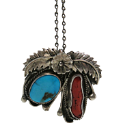 Vintage Navajo Sterling Silver, Turquoise And Coral Pendant Brooch