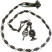 Antique Circa 1790 Georgian Cut Steel Chatelaine With Original Watch Chain, Motto Fob Seal And
