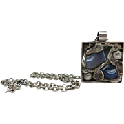 Vintage Danish Mid-Century Modernist Silver, Chalcedony And Banded Agate Pendant Necklace