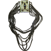 Antique Austro-Hungarian Edwardian Silver, Bohemian Garnet And Cultured Pearl 8-Strand Collar
