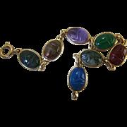 Vintage 14K Gold Carved Mixed Gemstone Scarab Bracelet