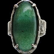 Vintage Brutalist Sterling Silver And Aventurine Ring Size 8.5