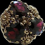 Vintage 14K Gold Cannetille Style Pyrope Garnet Cocktail Ring