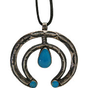 Vintage Native American Silver And Fine Turquoise Naja Pendant Necklace From Bell Trading ...