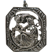 Heavy Vintage Sterling Silver Figural Pendant