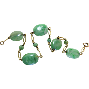 Vintage 14K Yellow Gold And Natural Green Jadeite 8-Inch Long Bracelet - 23.47 Carats