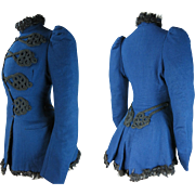Crisp Antique Circa 1880 Victorian Blue Wool Faille Jacket With Soutache And Fur