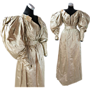 Rare Antique Dated 1831 Georgian Regency Champagne Silk Gigot Sleeve Wedding Dress With ...
