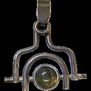 Vintage Modernist Sterling Silver And Labradorite Cabochon Pendant