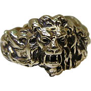 Exceptional Vintage 14K Yellow Gold Full Body Lion Ring