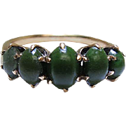 Antique Victorian 10K Gold Five Gemstone Ring With Green Turquoise Cabochons