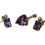 Vintage 10K Yellow Gold, Amethyst And Diamond Earrings And Pendant Set