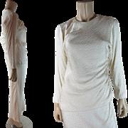 Vintage 1970's Oscar de la Renta Two Piece Ivory Silk Dress