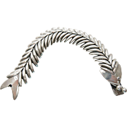 Slinky Vintage Mexican Sterling Silver Bubble Blowing Fish Bracelet - 71.2 Grams