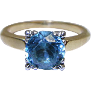 Vintage 14K Gold 2.25 Carat Natural Blue Zircon Solitaire Ring