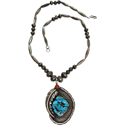 Vintage Navajo Hand Stamped Bench Bead Pendant Necklace With Coral And Turquoise