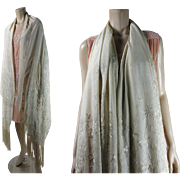 SOLD Vintage Circa 1920 Chinese Embroidered Silk Canton Shawl White On White