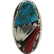 Massive Vintage Navajo Ingot Silver, Turquoise And Coral Ring - Size 12 - 43.4 Grams