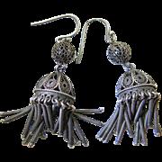 Vintage 2 1/4-Inch Silver Filigree Fringe Earrings