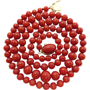 Fine Vintage 18K Gold Italian Ox-Blood Coral Necklace - 20-Inches / 18 Grams