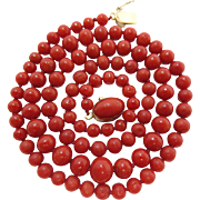 Vintage 18K Gold Italian Ox-Blood Coral Necklace - 20-Inches / 18 Grams