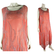 Beautifully Beaded 1920's Vintage French Art Deco Orange Silk Flapper Dress - Size 14 / Large